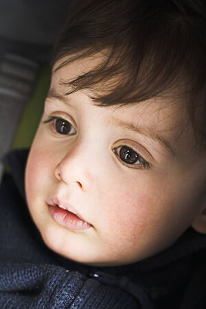 tranquille:  close up with natural light in stroller Stock Photo