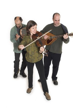 band playing celtic music over white background