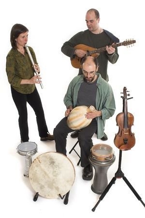 band playing celtic music over white background photo