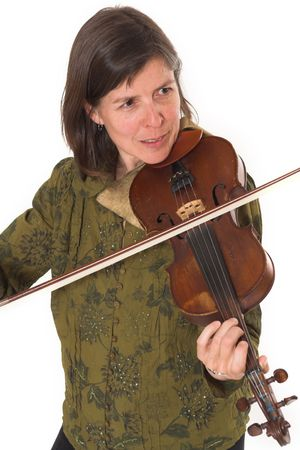 mid-age woman playing violon over white background