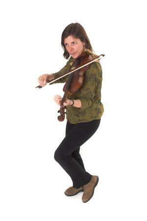 laque: mid-age woman playing violon over white background