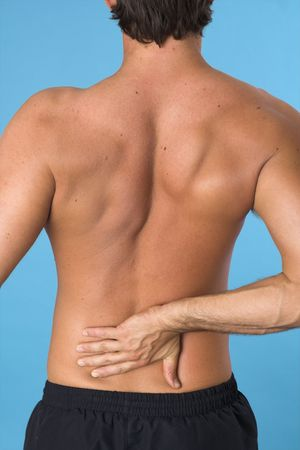 close up of a young man back over blue background Stock Photo