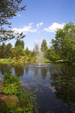 fountain in botanical garden in vancouver vandusen park  photo
