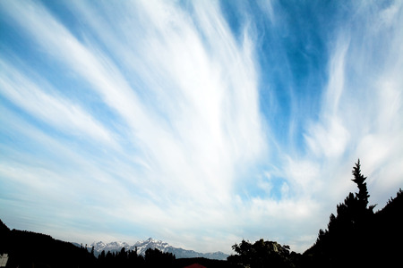 wide angle view of cloudy sky in harrisson hot spring photo