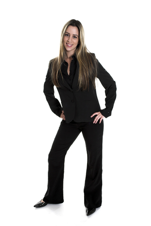business shot of woman standing over white background