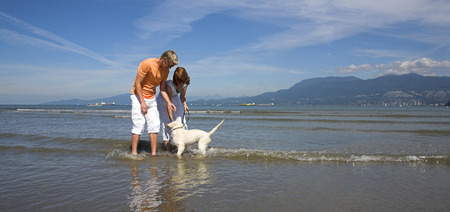 young couple petting dog on the beach vancouver