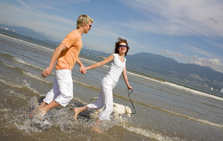 young couple walking in water with dog  photo