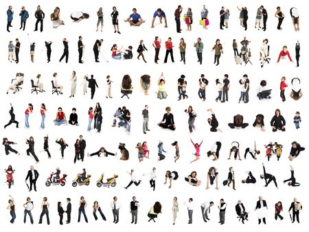 collage of isolated people over white background photo