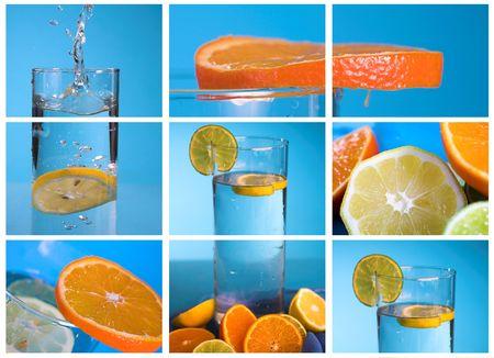 파란색 배경 위에 투명 유리에 레몬과 오렌지 콜라주 스톡 콘텐츠 - 1904611