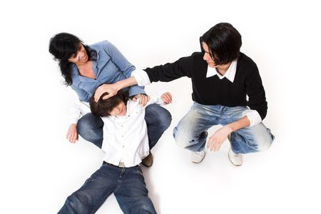happy family spending time together over white background Stock Photo - 2042281