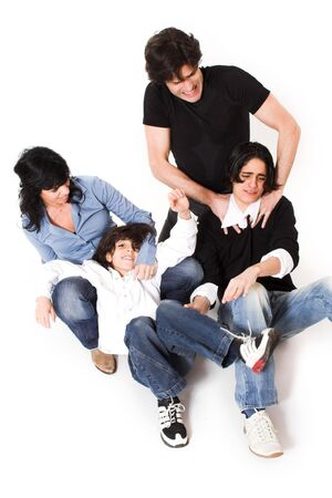 happy family spending time together over white background photo