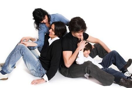 happy family spending time together over white background 版權商用圖片