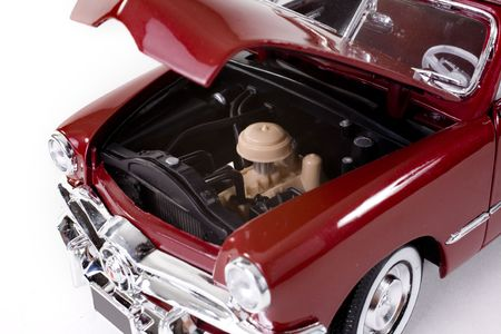 close up of collectible car over white background photo