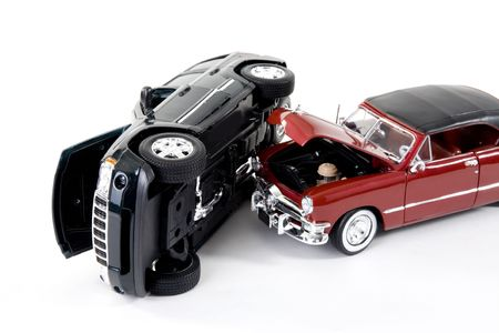 damaged: close up of collectible car over white background