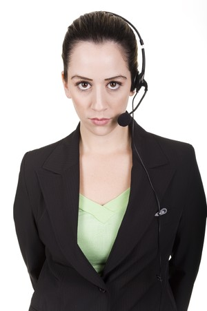 business woman with headset over white background photo