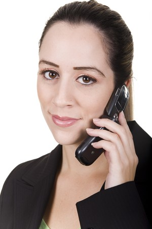 business woman with cellphone over white background photo