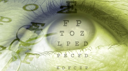 glaucoma: eye close up template design in green color Stock Photo