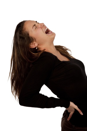 woman suffering from back pain over white background with black t-shirt 스톡 콘텐츠