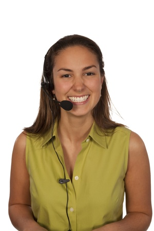 Woman with headphone over white background wearing green top photo