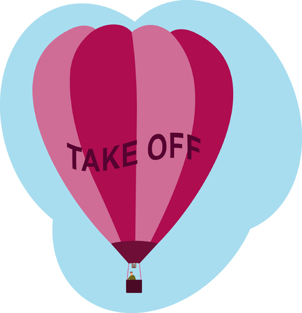 arise: Hot air balloon with text TAKE OFF on it