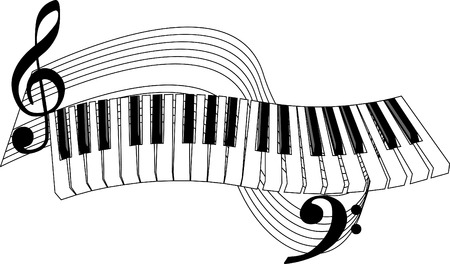 stave: Piano keys and stave.