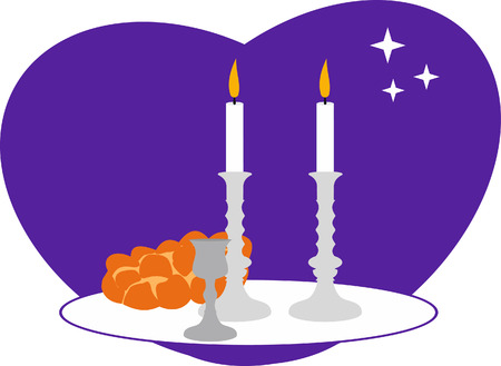 Sabbath candles, kiddush cup and challah. Vector