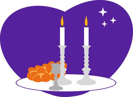 Sabbath candles, kiddush cup and challah.
