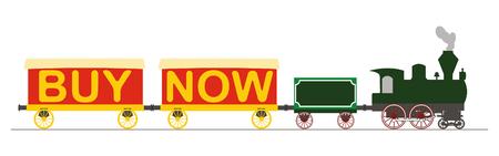Locomotora a vapor y dos vagones con texto COMPRAR. Foto de archivo - 31466477