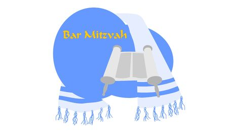 bar mitzvah: A torah scroll and tallit for Bar Mitzvah Illustration