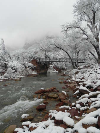 Virgin River in Zion National Park in Utah during snow storm photo