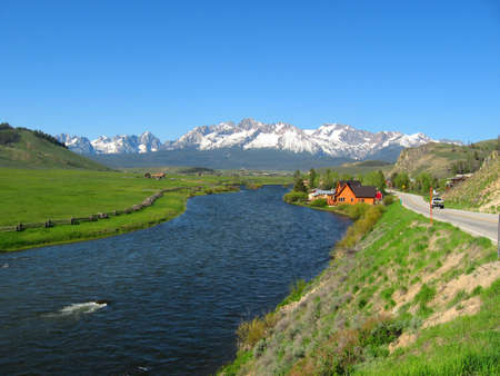 stanley: Salmon River in Stanley Idaho with Sawtooth Mountains Stock Photo