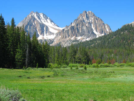 White Cloud Mountains in Sawtooth National Recreation Area in Idaho Stock Photo