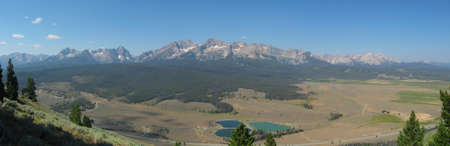 sawtooth national forest: Panorama of the Sawtooth Mountains in Stanley Idaho Stock Photo