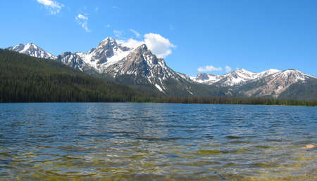 sawtooth national forest: Stanley Lake in the Sawtooth National Recreation Area in Idaho