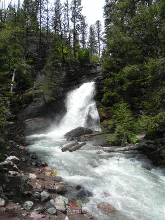 glacier national park: Baring Falls in Glacier National Park in Montana Stock Photo