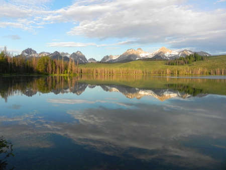 Little Redfish Lake and the Sawtooth Mountains in Idaho Stock Photo