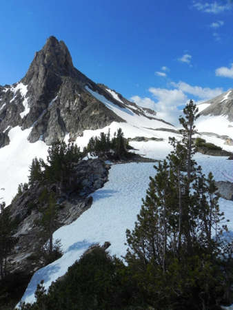 sawtooth national forest: Thompson Peak from Thompson - Williams Saddle Stock Photo