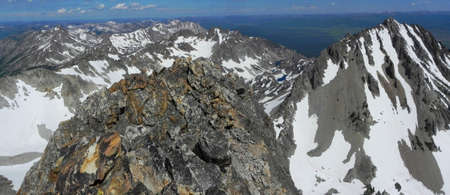 sawtooth national forest: Looking Northwest from Thompson Peak in Sawtooth Mountains in Idaho