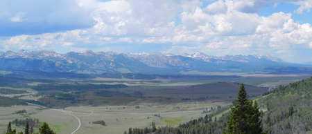 sawtooth national forest: Sawtooth Mountains and valley from Galena overlook in Idaho Stock Photo