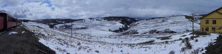 osier: View from Osier Station on Cumbres & Toltec Railroad Stock Photo