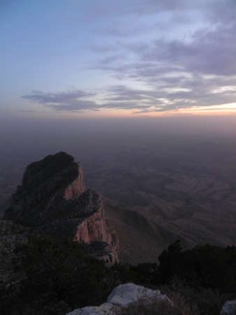 El Capitan at sunset from Guadalupe Peak in Guadalupe Mountains National Park in Texas photo