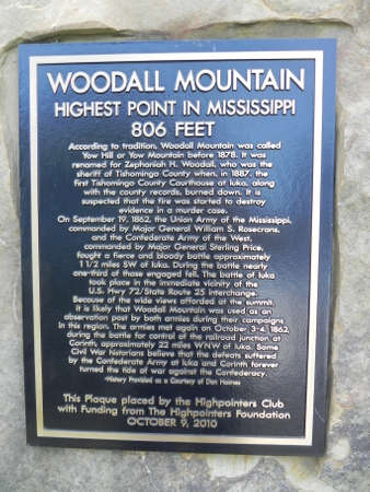 plaque: Woodall Mountain Plaque in Mississippi Stock Photo