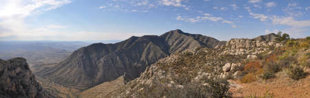 View of Guadalupe Peak from Hunter Peak in Guadalupe Mountains National Park