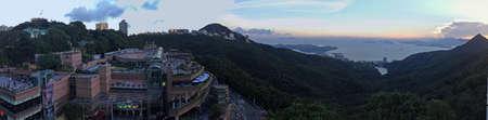 Zonsondergang vanaf de Peak Tower Hong Kong