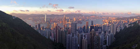 Sunset from Victoria Peak over Hong Kong photo