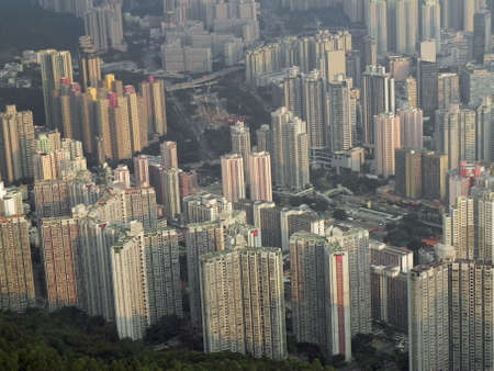 Buildings in Hong Kong from Lion Rock Stockfoto