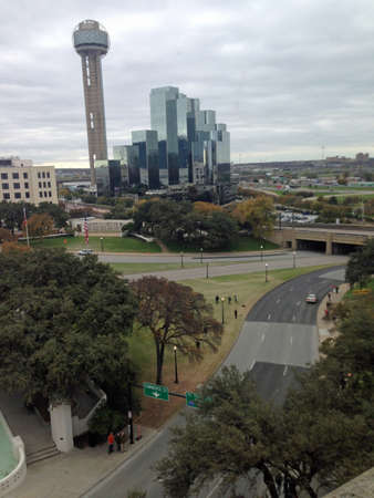 depository: Elm Street, Dealey Plaza, and Renaissance Tower from Book Depository in Dallas, Texas