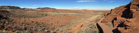 View from Wupatki Pueblo in Wupatki National Monument in Arizona Stock Photo