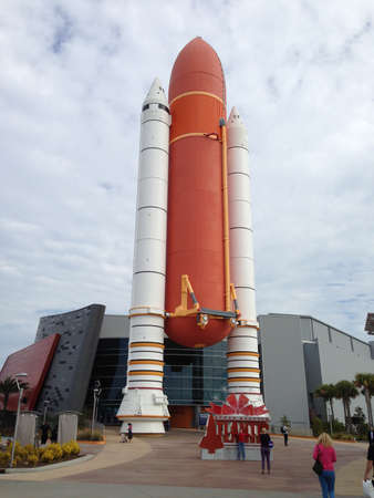 cape canaveral: Space shuttle solid rocket boosters and fuel tank at Kennedy Space Center. Editorial