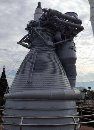 Kennedy: Saturn rocket engine at Kennedy Space Center. Editorial